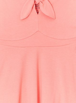 Plus Size Super Soft Coral Tie Front Off Shoulder Peplum Top, WILD ORANGE, alternate