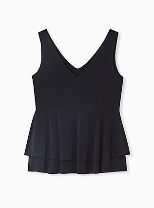 Black Studio Knit Double Layer Babydoll Tank, DEEP BLACK, alternate