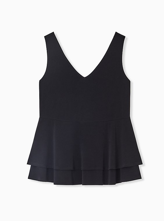 Black Studio Knit Double Layer Babydoll Tank, , hi-res