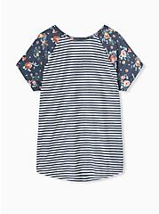Plus Size Classic Fit Raglan Tee - Featherlight Slub Navy Stripe Floral, STRIPE-NAVY, alternate