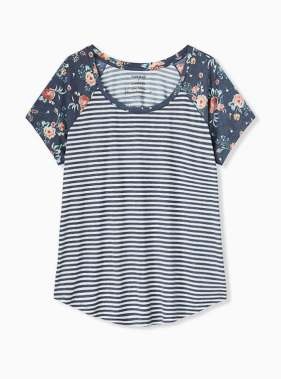 Plus Size Classic Fit Raglan Tee - Featherlight Slub Navy Stripe Floral, , hi-res