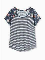 Plus Size Classic Fit Raglan Tee - Featherlight Slub Navy Stripe Floral, STRIPE-NAVY, hi-res