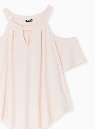 Light Pink Studio Knit Cold Shoulder Blouse, PEACH BLUSH, alternate