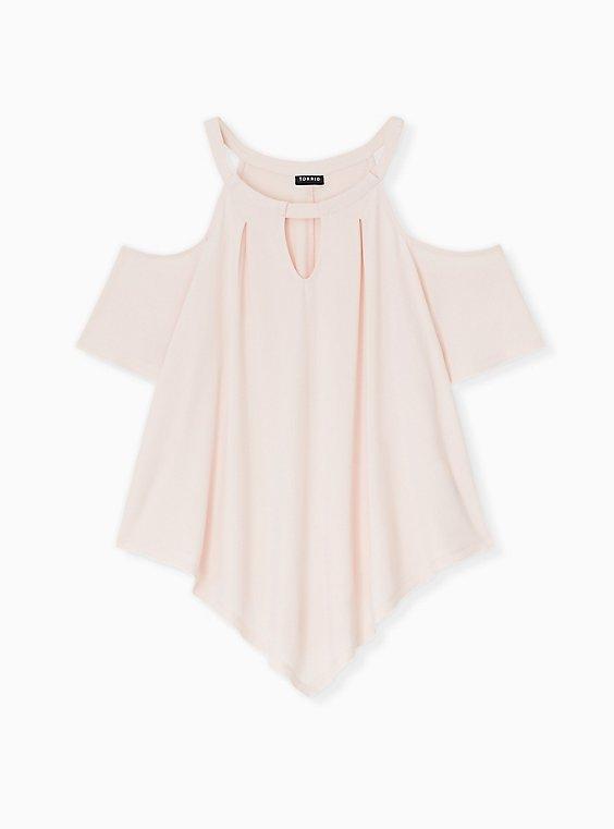 Light Pink Studio Knit Cold Shoulder Blouse, , hi-res