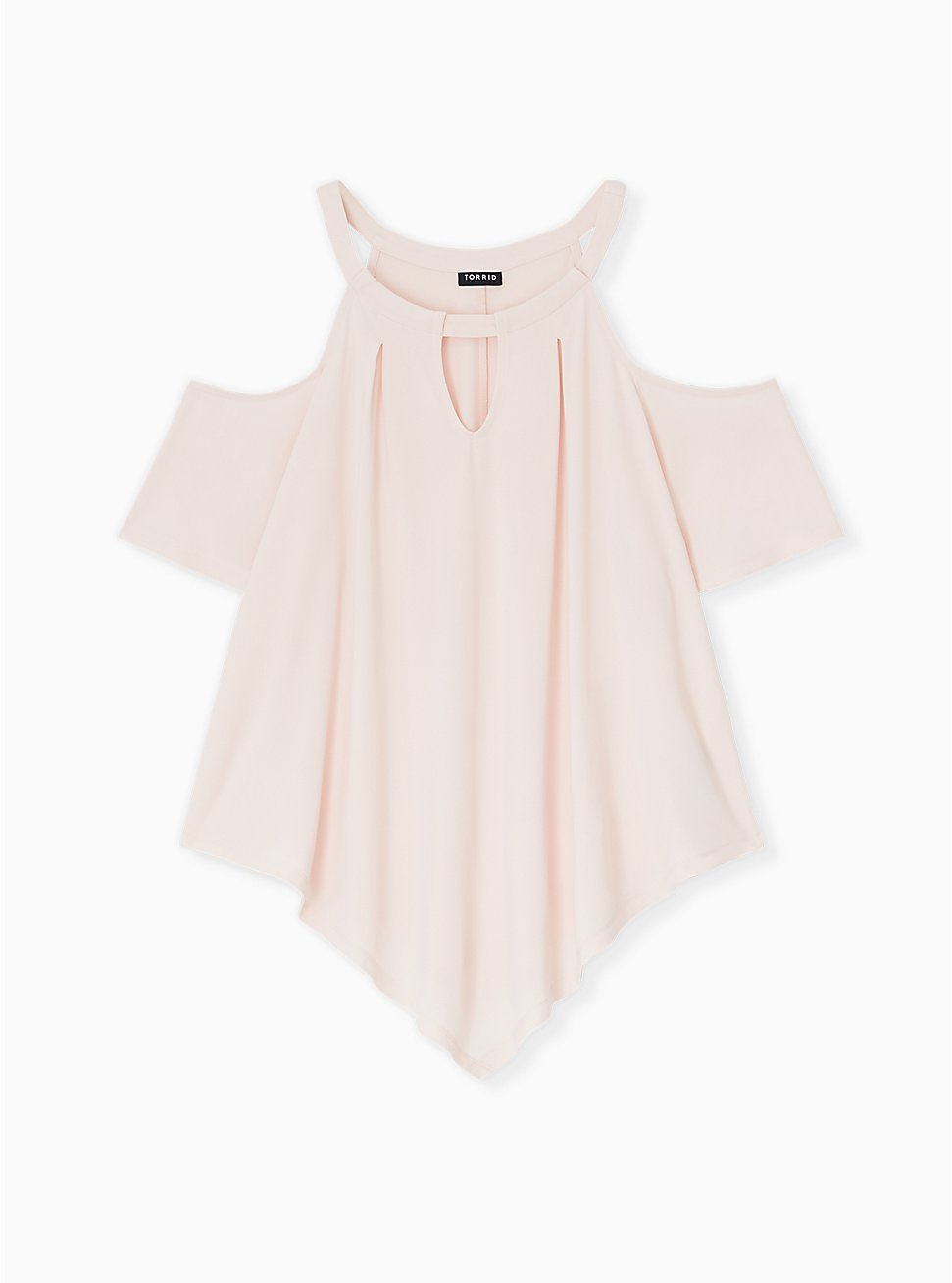 Light Pink Studio Knit Cold Shoulder Blouse, PEACH BLUSH, hi-res