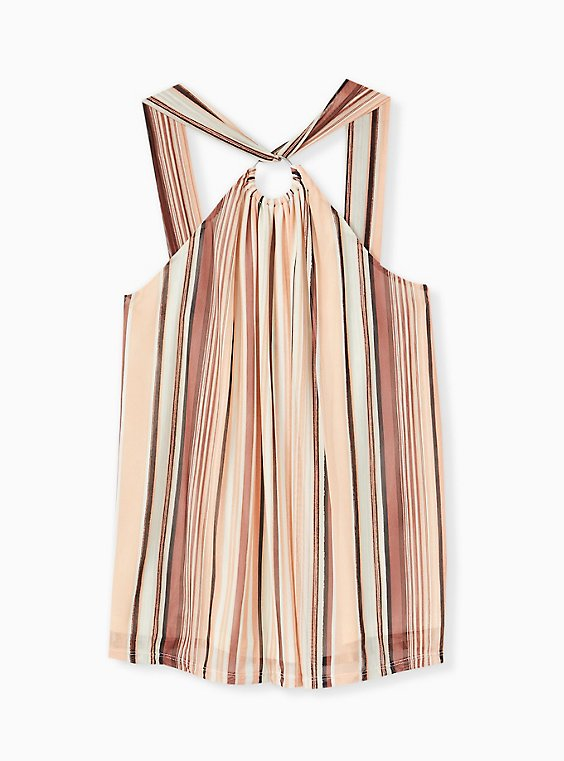 Multi Stripe Mesh O-Ring Halter Tank, , hi-res