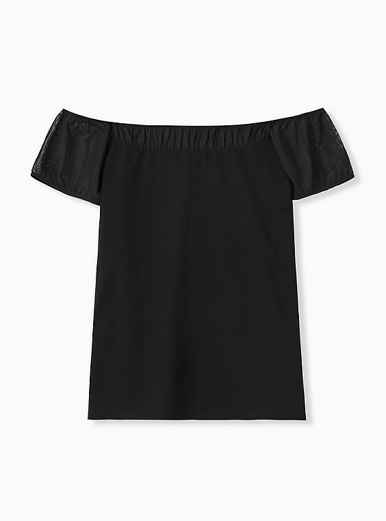Plus Size Black Off Shoulder Foxy Tee, , hi-res