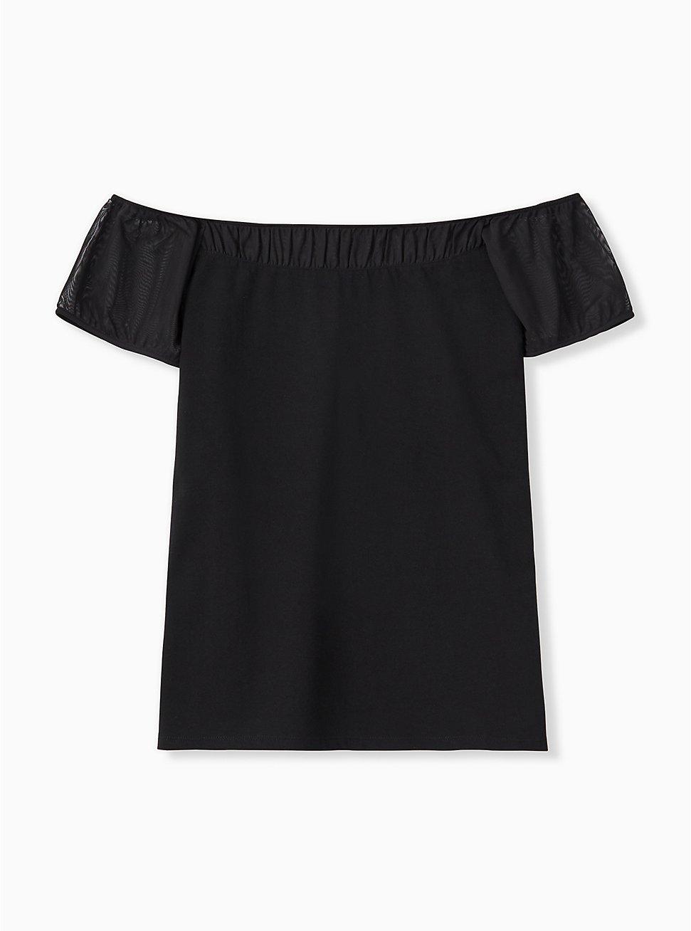 Plus Size Black Off Shoulder Foxy Tee, DEEP BLACK, hi-res