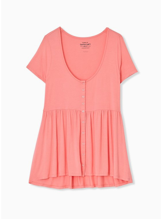 Super Soft Coral Button Front Babydoll Tee, , hi-res