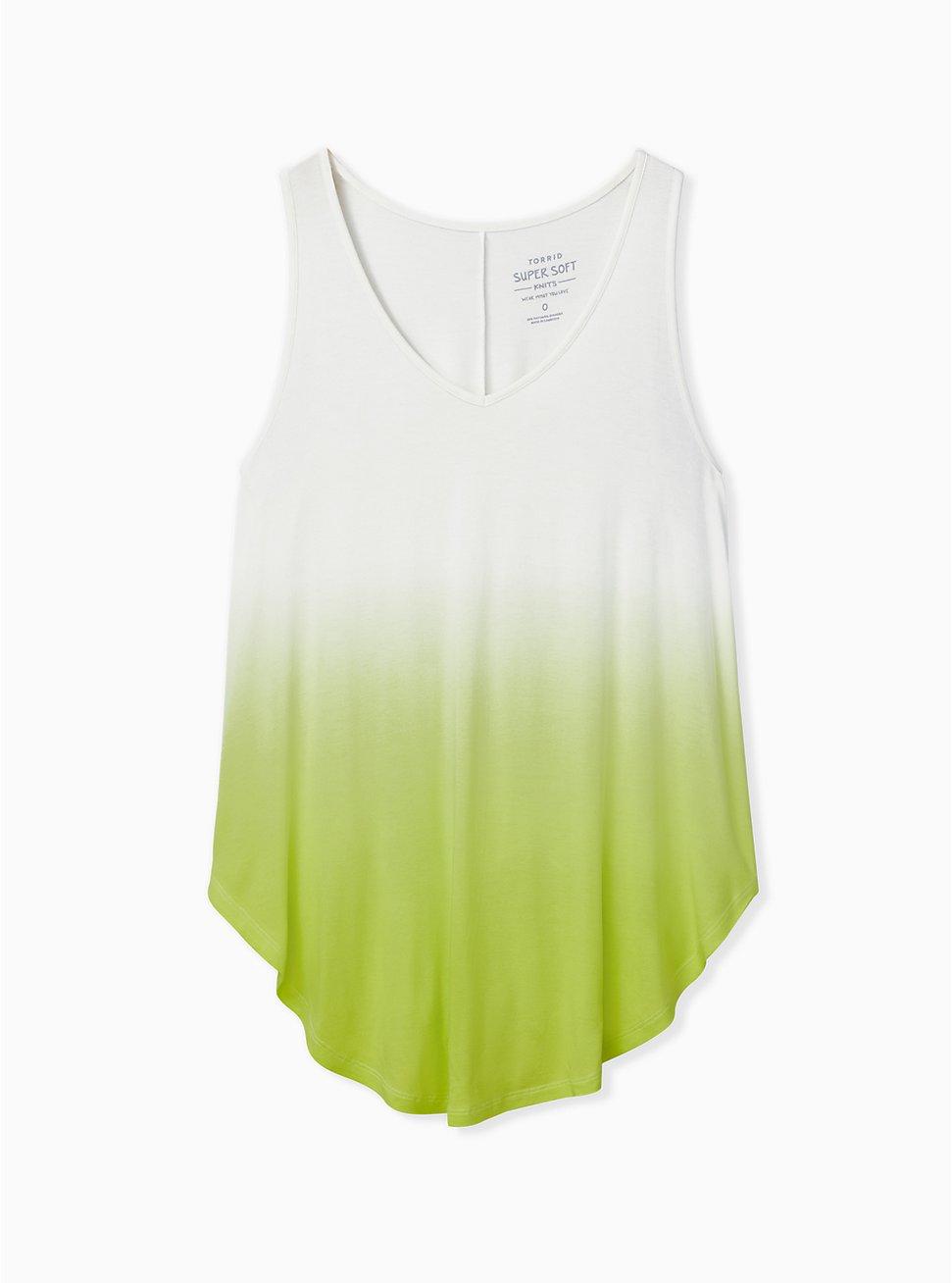Plus Size Super Soft Lime Green Dip Dye Favorite Tunic Tank, LIME, hi-res