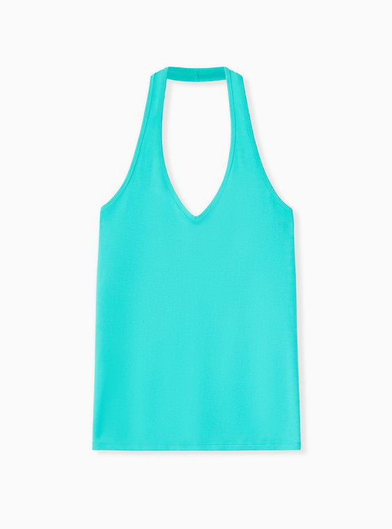 Plus Size Turquoise Foxy Halter Top, , hi-res