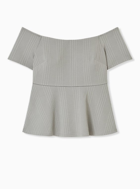 Sage Green Textured Ponte Off-Shoulder Peplum Top, , hi-res