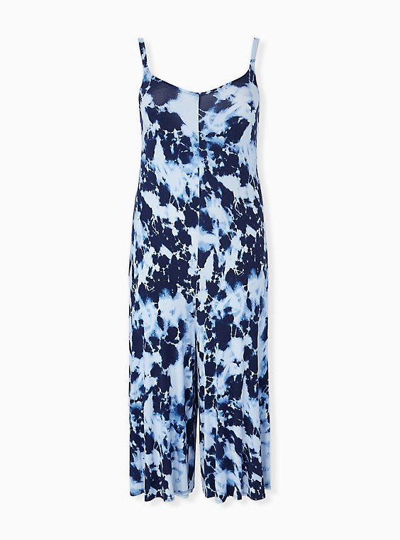 Super Soft Navy Tie-Dye Culotte Jumpsuit, , hi-res