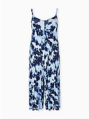 Super Soft Navy Tie-Dye Culotte Jumpsuit, TIE DYE-BLUE, hi-res