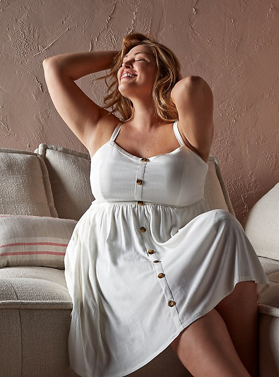 Plus Size White Stretch Woven Button Hi-Lo Dress, , hi-res