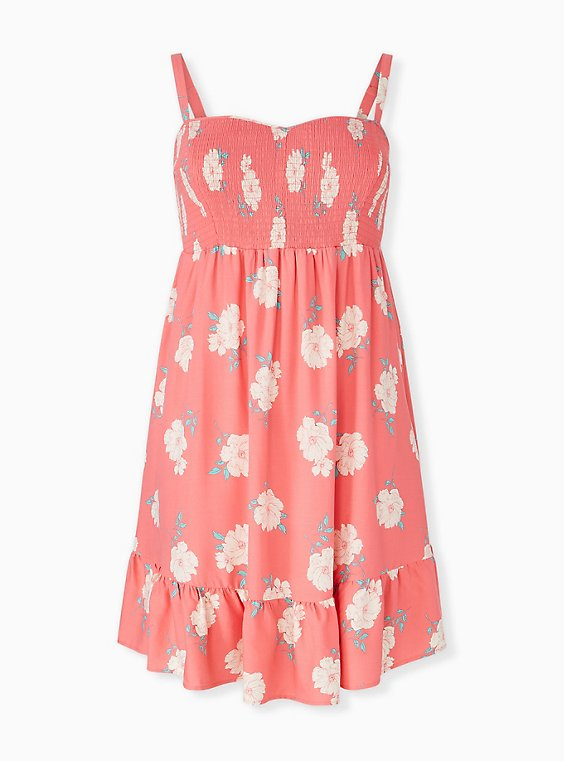 Coral Floral Challis Smocked Shirred Hem Skater Dress, , hi-res