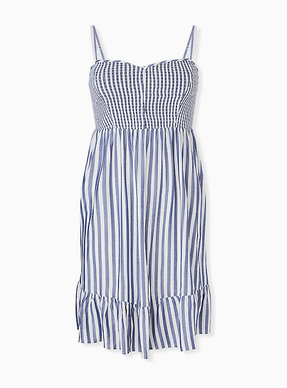 Plus Size Blue Stripe Challis Smocked Shirred Hem Skater Dress, , hi-res