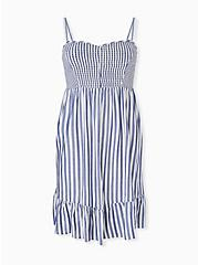 Blue Stripe Challis Smocked Shirred Hem Skater Dress, STRIPE - BLUE, hi-res