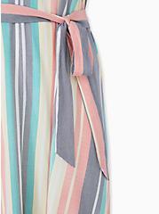 Multi Stripe Challis Self Tie Midi Dress, STRIPE - WHITE, alternate