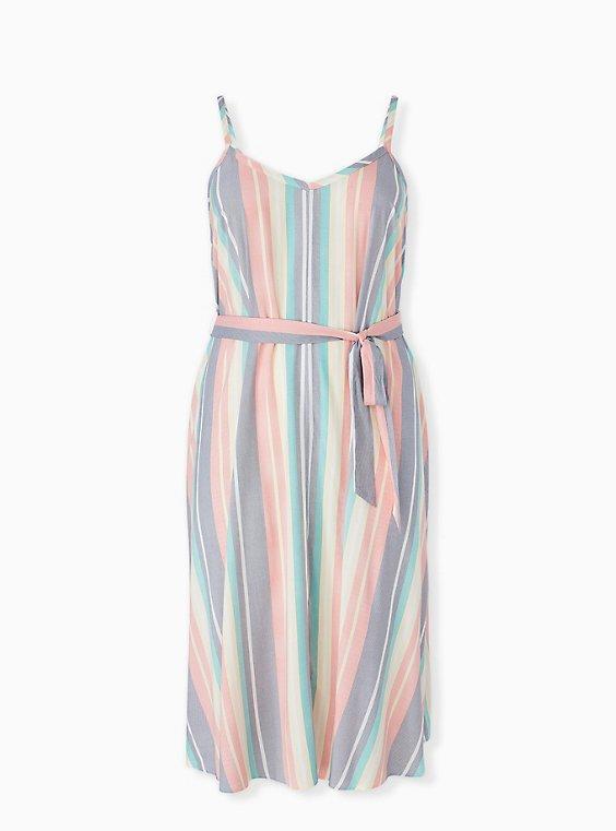Multi Stripe Challis Self Tie Midi Dress, , hi-res