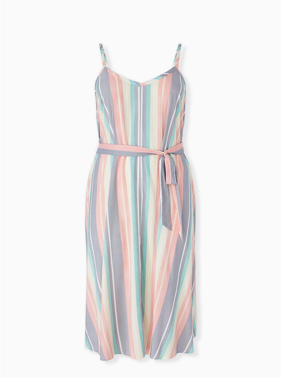 Multi Stripe Challis Self Tie Midi Dress, STRIPE - WHITE, hi-res