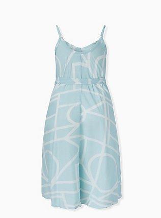 Mint Blue Geo Challis Self Tie Midi Trapeze Dress, , alternate