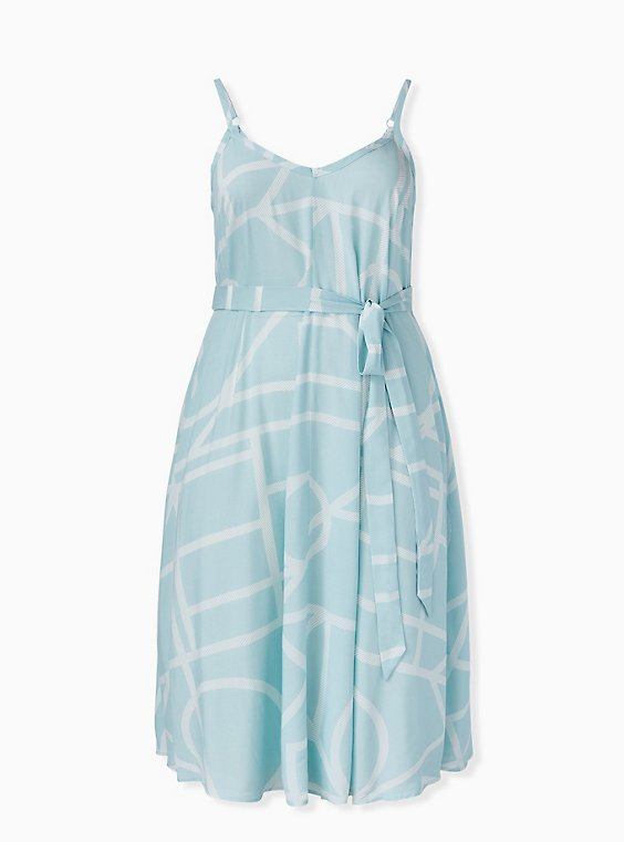 Plus Size Mint Blue Geo Challis Self Tie Midi Trapeze Dress, , hi-res