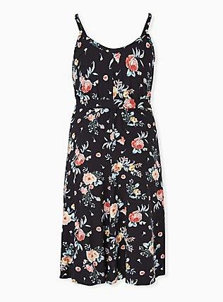 Black Floral Challis Self Tie Midi Dress, FLORALS-BLACK, alternate