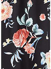 Black Floral Challis Self Tie Midi Dress, FLORALS-BLACK, alternate
