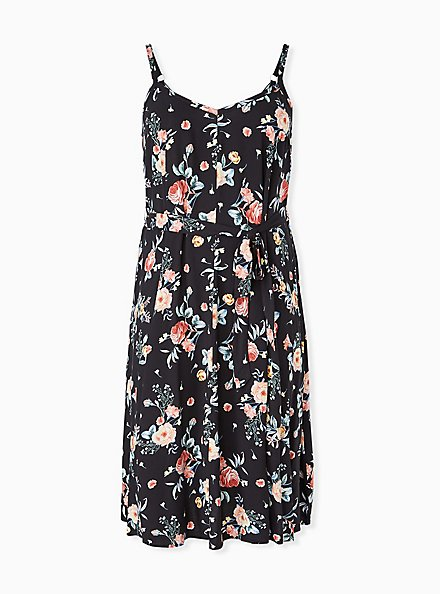 Black Floral Challis Self Tie Midi Dress, FLORALS-BLACK, hi-res