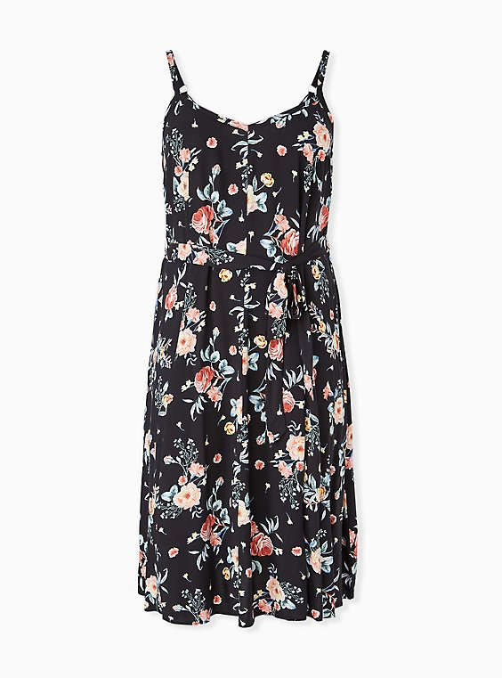Plus Size Black Floral Challis Self Tie Midi Dress, , hi-res