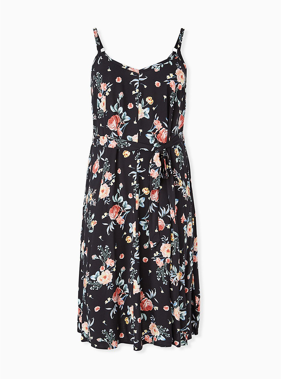 Black Floral Challis Self Tie Midi Dress, FLORALS-BLACK, hi-res