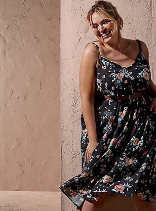 Black Floral Challis Self Tie Midi Dress, FLORALS-BLACK, pdped