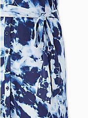 Navy Tie-Dye Challis Button Front Self Tie Shirt Dress , TIE DYE-BLUE, alternate