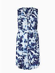 Navy Tie-Dye Challis Button Front Self Tie Shirt Dress , TIE DYE-BLUE, hi-res