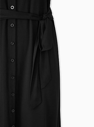 Black Challis Button Front Self Tie Shirt Dress , DEEP BLACK, alternate