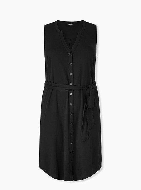 Plus Size Black Challis Button Front Self Tie Shirt Dress , , hi-res