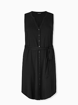 Black Challis Button Front Self Tie Shirt Dress , DEEP BLACK, hi-res