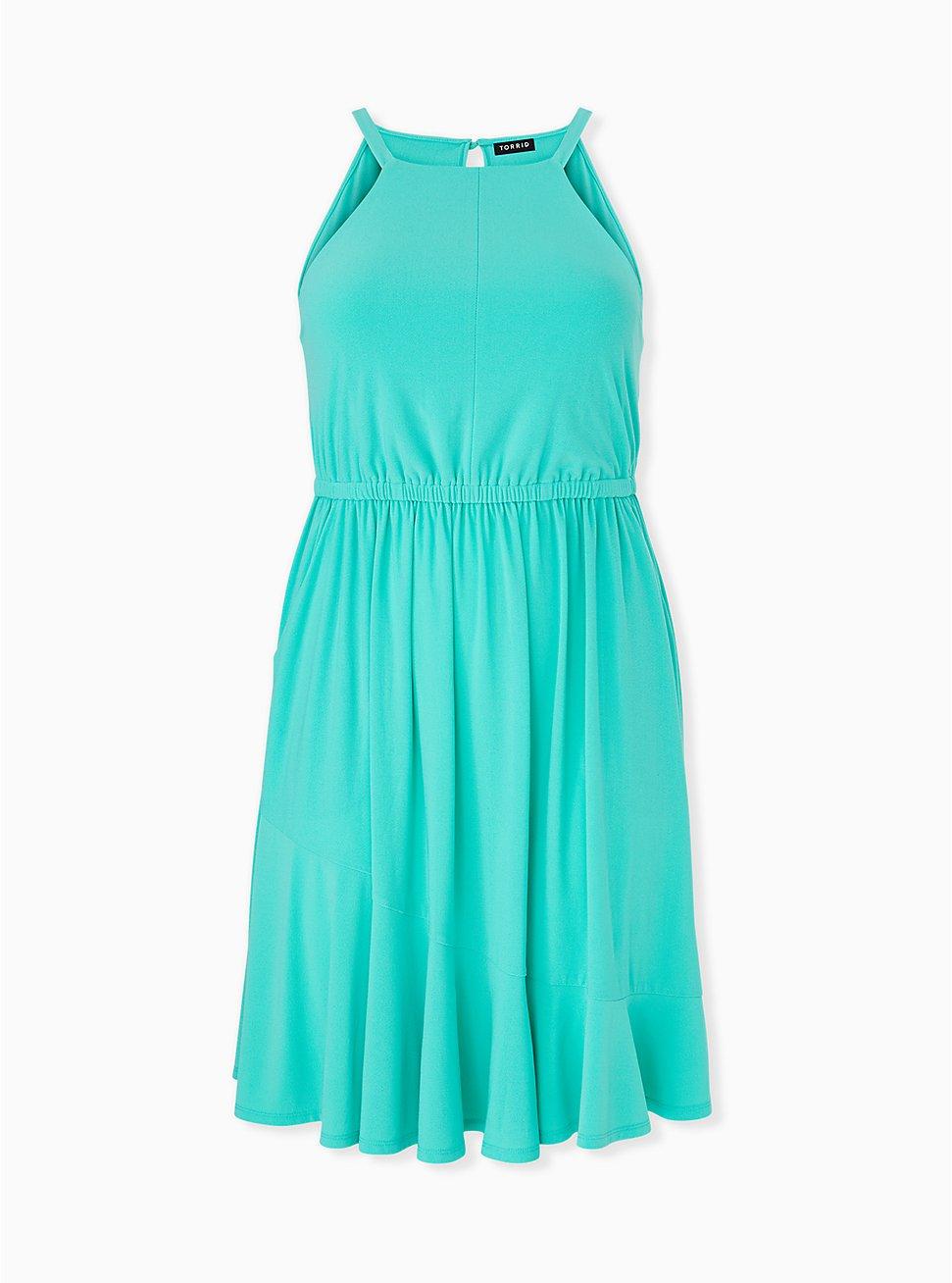 Turquoise Crepe High Neck Skater Dress, AQUA GREEN, hi-res