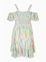 Rainbow Brushstrokes Gauze Cold Shoulder Handkerchief Mini Dress, STRIPE - WHITE, alternate