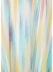 Plus Size Rainbow Brushstrokes Gauze Cold Shoulder Handkerchief Mini Dress, STRIPE - WHITE, alternate