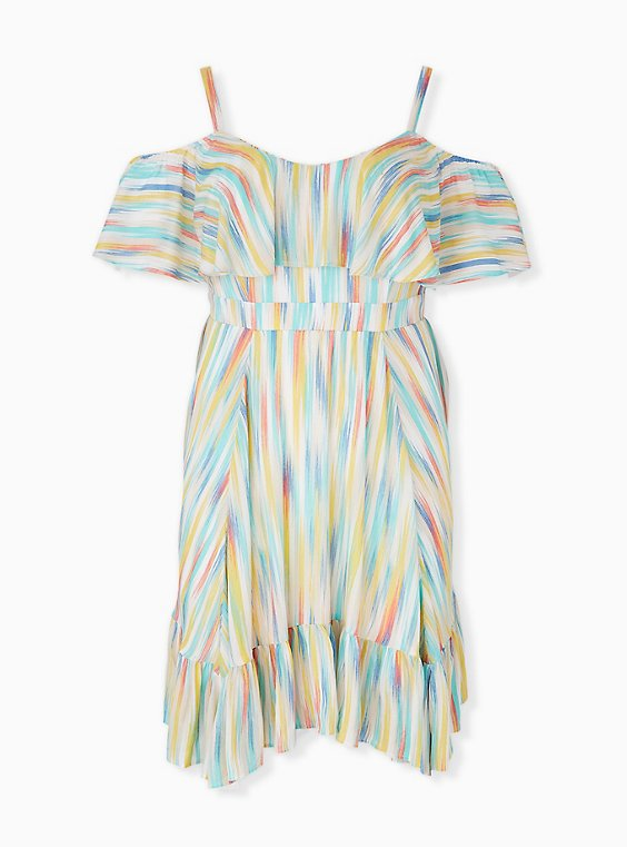 Rainbow Brushstrokes Gauze Cold Shoulder Handkerchief Mini Dress, , hi-res