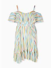 Plus Size Rainbow Brushstrokes Gauze Cold Shoulder Handkerchief Mini Dress, STRIPE - WHITE, hi-res