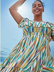 Rainbow Brushstrokes Gauze Cold Shoulder Handkerchief Mini Dress, STRIPE - WHITE, hi-res