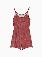 Super Soft Brick Red Polka Dot Drawstring Romper, DOTS - BROWN, alternate