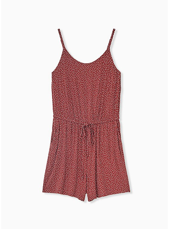 Plus Size Super Soft Brick Red Polka Dot Drawstring Romper, , hi-res