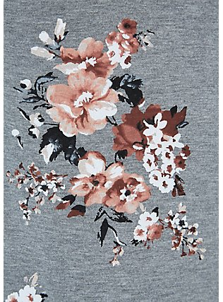 Super Soft Heather Grey Floral Hi-Lo Maxi Dress, ROSEY GARDEN, alternate