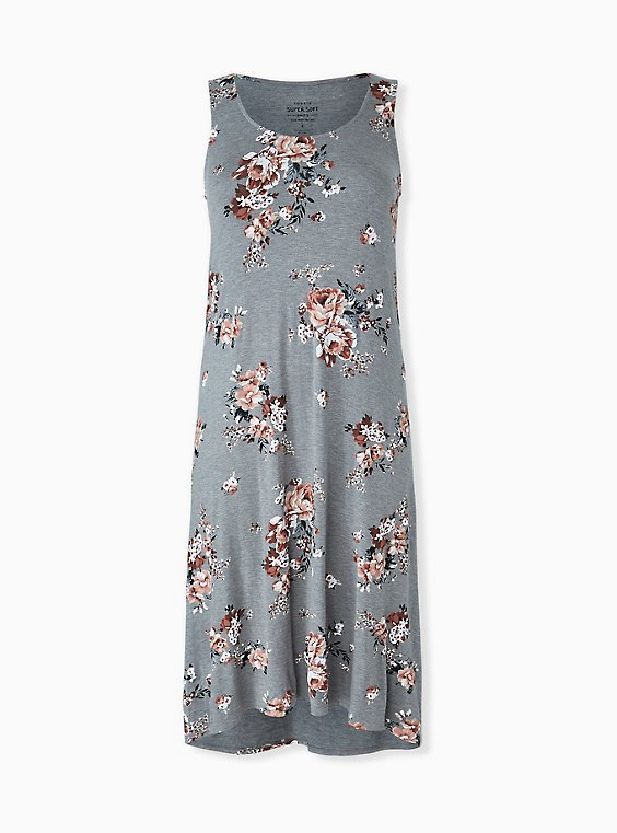Plus Size Super Soft Heather Grey Floral Hi-Lo Maxi Dress, , hi-res