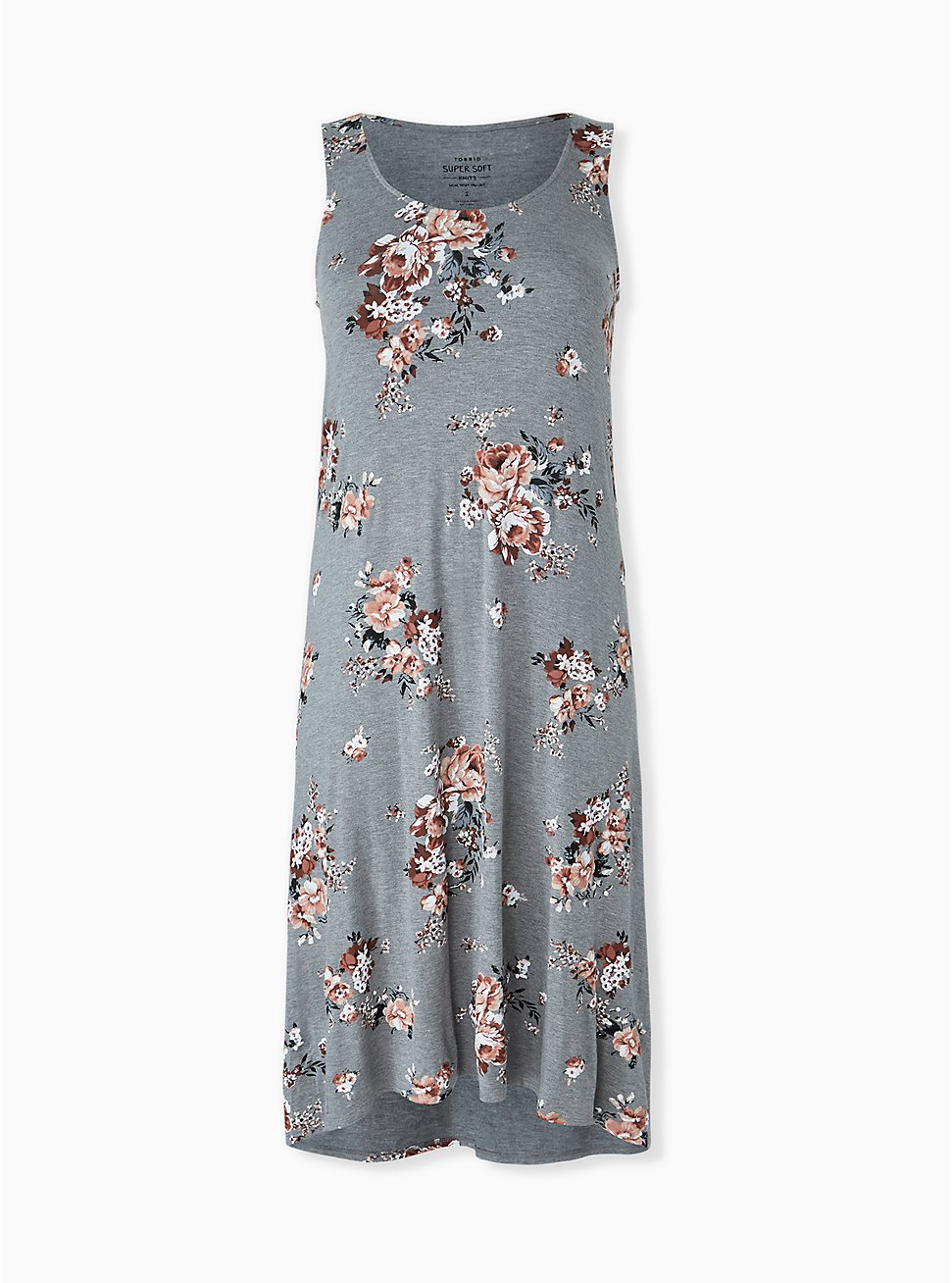 Super Soft Heather Grey Floral Hi-Lo Maxi Dress, ROSEY GARDEN, hi-res