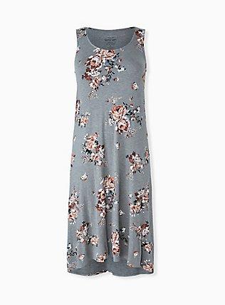 Super Soft Heather Grey Floral Hi-Lo Maxi Dress, ROSEY GARDEN, hi-res